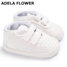 Adela Flower New White Soft Sole PU Leather Baby Shoes Toddler Infants Sneakers Shoes Baby Boys Girls Shoes First Walkers 0-18M(China)