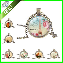Eiffel Tower Art Pendant Paris Jewelry France Travel Vacation Necklace Pendant personalized bridesmaid gifts Couples gift