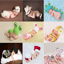2017 Soft Newborn Baby Photography Props Christmas Hat Baby Cap Infant Knitted Hat Crochet Girl Clothes Set Baby Shoot Props Hat(China)