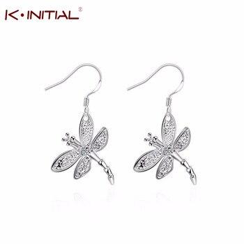 Wholesale Fashion Summer Ear Jewelry Silver Plated Butterfly Drop Earrings Animal Pendant Earrings for women Gift Party Jewelry