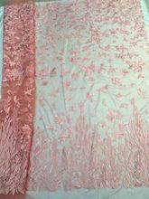 Best selling new wedding tulle lace embroidery coral french net lace fabric 5 yards per piece pink DQ486