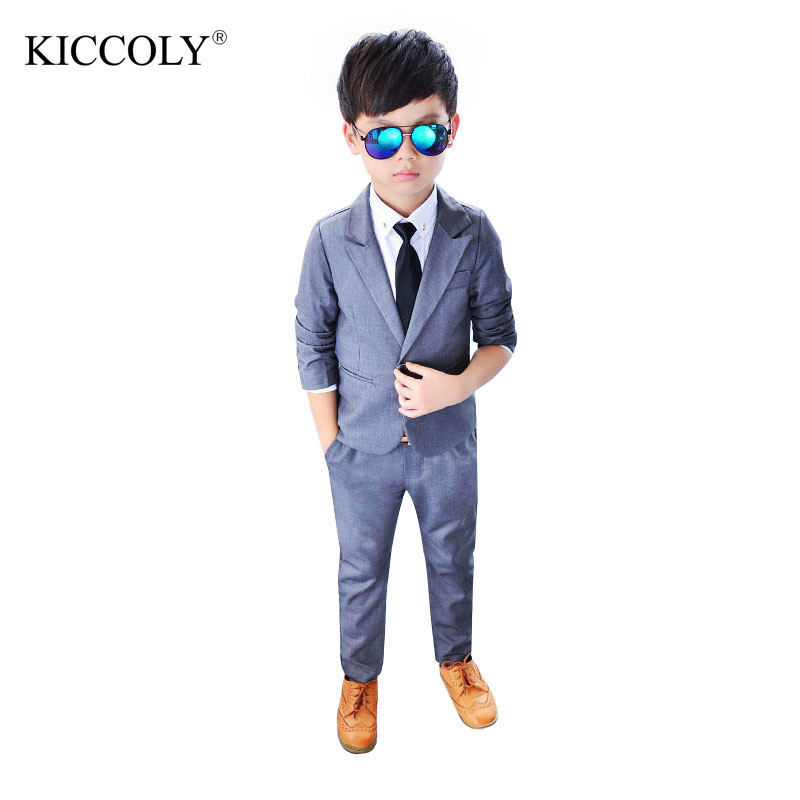 KICCOLY New Fashion Grey Boys Suits Regular Boy Formal style Suit Blazers 2Piece Suits Pant+ Coat Costume For Boy Weddings<br>