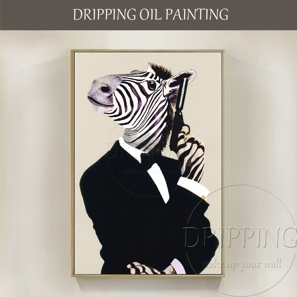 Funny Design Artist Hand-painted High Quality Funny Animal Horse James Bond Oil Painting Humor Horse with Pistol Oil Painting(China)