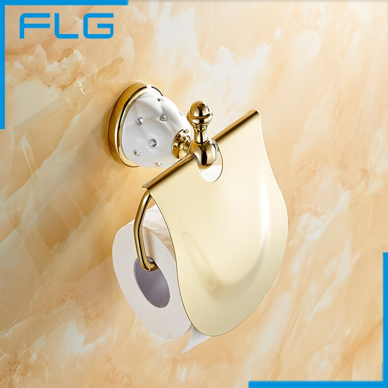 Luxury Brass Gold Toilet Paper Box Roll Holder Bathroom Accessories Bath Hardware Crystal  Metal Paper Holder<br><br>Aliexpress