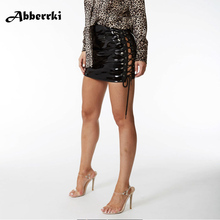 Buy Ladies Black Latex Sexy Super Mini Skirt Bodycon Clubwear Fake Leather Bandage Short Skirt Women Saias Faldas Female