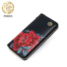 Chinese style women wallet Spilt Leather cowhide leather women card holder female Clutch purse women handbags coin purse brand(China)