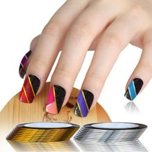 10 Golden + 10 Sliver Rolls Striping Tape Line Tips Decoration Stickers Nail Art Manicure Tools DIY(China)