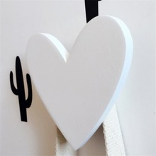 Wooden Heart Shaped Hook Decorative Home Wall Hanger Hook Decor Pink/White 83*8*55mm