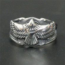 Support Drop Ship Flying Eagle Biker Ring 100% 316L Stainless Steel Jewelry Men Boys Cool Ring(China)