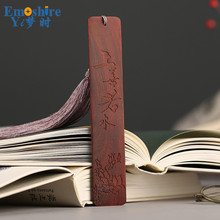 Creative Red Woody Chinese Style Creative Gift Red Sandalwood Tassel Bookmarks DIY Custom LOGO Lettering M044