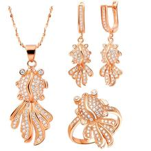 Personality and Charm Octopus Inlay Bright  Zircon Necklace/Ring/Earrings  Rose Gold & White Gold Jewelry Sets For Women T130-8#