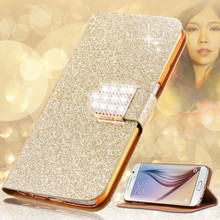 Luxury Glitter Diamond PU Leather Cell Phone Case For Alcatel One Touch Pixi First OT 4024 4024D 4024X Stand Wallet Cover