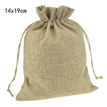 14x19cm Burlap Jute Drawstring Gift package Storage Bags For Coffee Beans Stylish with Hemp Cords Reusable Custom Promotional(China)