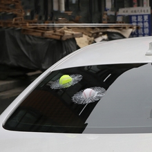 Funny 3D Car Sticker Football Basketball Tennis Baseball Hit Window For VW Golf 5 6 7 Polo Opel Kia Renault Ford Focus 2 Toyota(China)