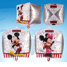 1pcs 6 Side Cube Mickey Minnie Mouse Brand Foil Balloon Kids Birthday Party Supplies Home Decoration Kid foil ballon baloes gift