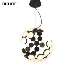 LED Modern Pendant Lights Acrylic Ball Lampshade Earth Design Lamp For Dining Living Room Black 15-30 Meters Lustres Decoration(China)