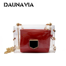 Transparent Bags Designer PVC Women Bag Colorful Studded Handbags Luxury Chain Day Clutch Travel Beach Bag(China)