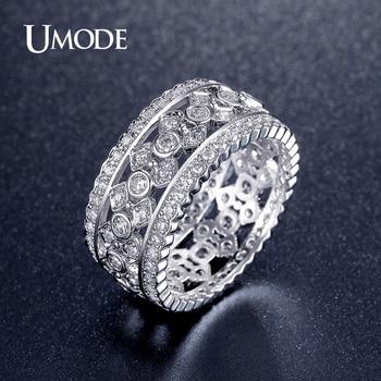 Umode vintage cubic zirconia anillos de platino anillo plateado para las mujeres de la joyería retro regalo femme bague acessorios para mulher ur0322