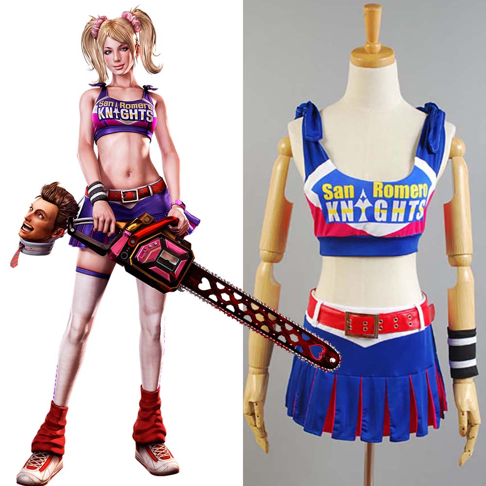 2017 New Lollipop Chainsaw Costume Juliet Starling Cosplay Costume Halloween Carnival Whole Suit Cos Accessories Adult Women