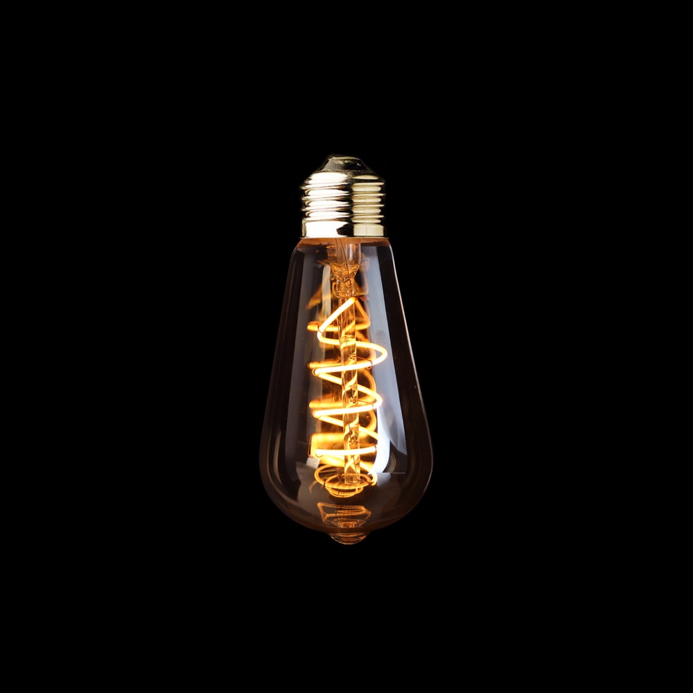 ST64 Amber Shape,3W Dimmable Edison Spiral Filament LED Bulb,Super warm 2200K,E26 E27 Base,Decorative Household Lighting<br><br>Aliexpress