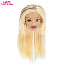 "High Quality Punk Doll Head Long Blonde Straight Hair Fashion Random Earrings DIY Accessories For 12"" Doll Kids Dollhouse Gift(China)"