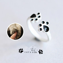 Hot Animal footprints 925 sliver rings sterling silver jewelry Cute dog Cat claws rings for women sterling-silver-jewelry gift