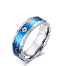 "SIZZZ 3A cubic zircon Stainless steel men's rings 6 mm blue with lettering ""forever"" ring male jewelry wholesale"
