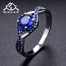 MDEAN White Gold-Color Rings for Women blue AAA Zircon Jewelry Engagement Classic Bijoux Bague accessories Size 6 7 8 9 10 H469(China)