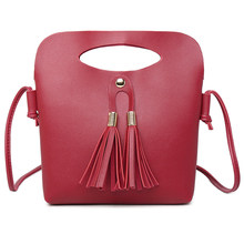 New Arrival Women Female PU Leather Shoulder Bag Simple Fashion Ladies Candy Color Tassel Bucket Tote Mini Handbag Popular(China)