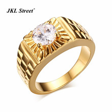 Luxury Men's Stainless Steel Band Ring Brand New 7mm CZ Stone Ring Gold-color Wedding Engagement Jewelry Iced Out Pinky Ring