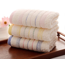 Hot Sales Delicate Luxury Jacquard Discontinuity Cotton Towel 34x74cm Hand Face Bath Towel Striped Big Wash Cloth as Gift