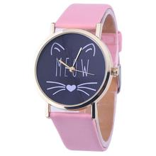 Montre watches women fashion watch 2016 Luxury Cute Cat Pattern PU Leather Band Analog Quartz Vogue Wrist Watch relojes hombre