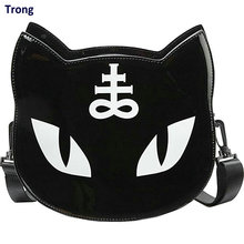 Black Color Cat Head Shoulder Bag Women's Messenger Bag fun personalized gothic tote bags Harajuku Rock Punk Style Handbag(China)