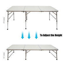Camping Outdoor Picnic Portable Aluminum Alloy 3-Fold Table Adjustable Light Weight Foldable Table @LS(China)