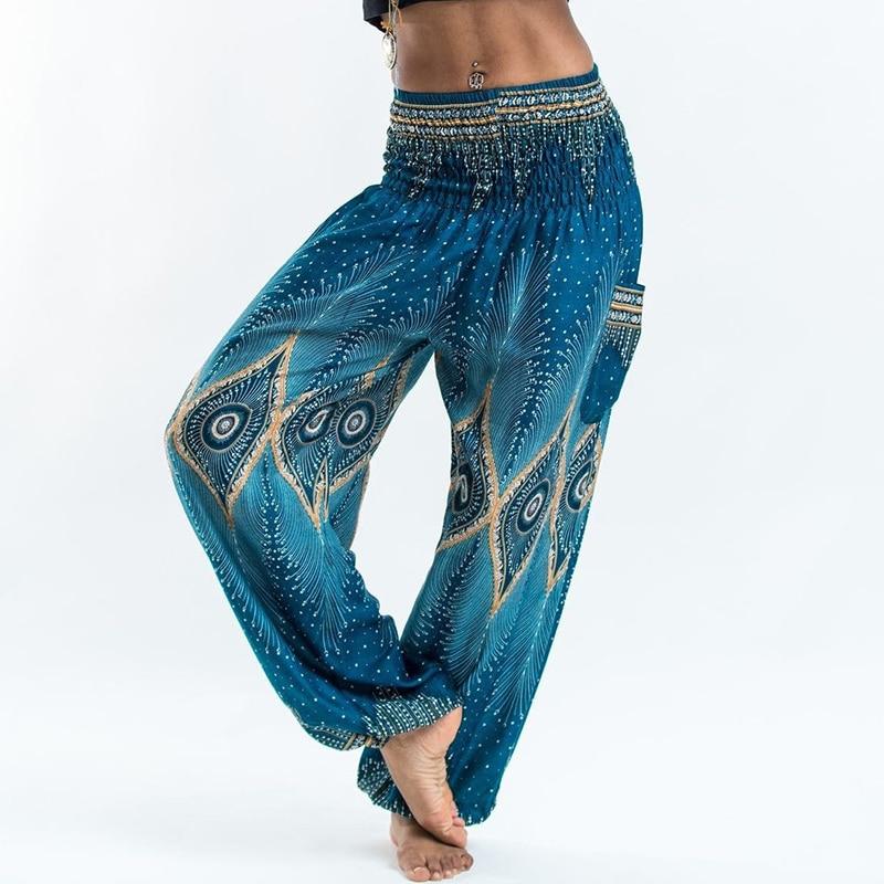 Women National Style Loose Coon Printed Pants Elastic Baggy Boho Female Harem Long Pants Comfy Side Pocket Indie Folk Trousers