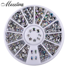 1 Box Bling AB Acrylic Nail Art Rhinestones Wheel Glitter Dropwater Bow Designed DIY Manicure Decorations(China)