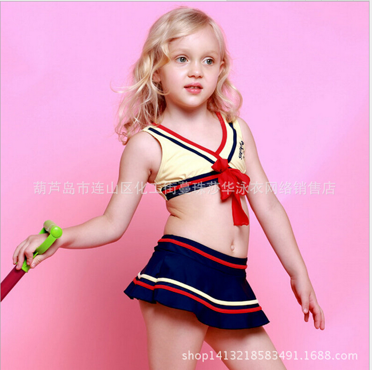 Lovely Girl Bikini Swimsuits Striped Big Bow Tankini Baby Beach Wear Sport Style Child Bathing Suit Maillot De BainEF635<br><br>Aliexpress