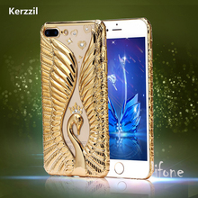 Buy Kerzzil iphone 7 Case Crystal Diamond Swan Case iphone7 6 6s 6plus 6S Plus Soft Plating Embossed Swan Phone Cases Capa for $2.98 in AliExpress store