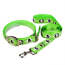 2pcs/set Pet Dog Fluorescent Reflective Collar Drawstring Traction Rope Leash Reflect light in dark collar+Leash kead set pets