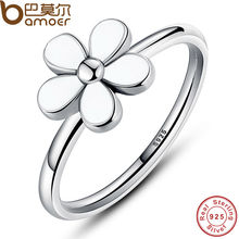 Flower 925 Sterling Silver Darling DAISY Stackable RING White Enamel WITH WHITE ENAMEL Authentic Jewelry PA7115(China)
