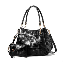 Two Sets Alligator Washed Leather Hobo Handbags With Purses Large Tote Shoulder Bags Vintage Bucket Bag For Women