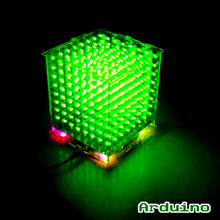 DIY 3D8 mini Cubeeds LED DIY KIT with excellent animations /3D green  8 8x8x8 Kit/Junior,3D Display,support Aidrno