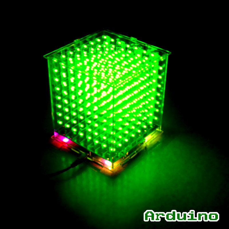 DIY 3D8 mini Cubeeds LED DIY KIT with excellent animations /3D green  8 8x8x8 Kit/Junior,3D Display,support Aidrno<br><br>Aliexpress