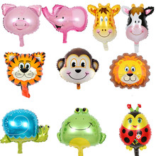 10pcs/lot Mini Zebra Tiger monkey lion deer cow Ladybug Animals Head Helium Foil Balloons Animal Air Ballons theme party suppies