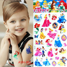 2017 Hot Sale The New Children's Cartoon Waterproof Temporary Tattoo Stickers Elsa Anna Henna Body Art Flash Car Styling Wall(China)
