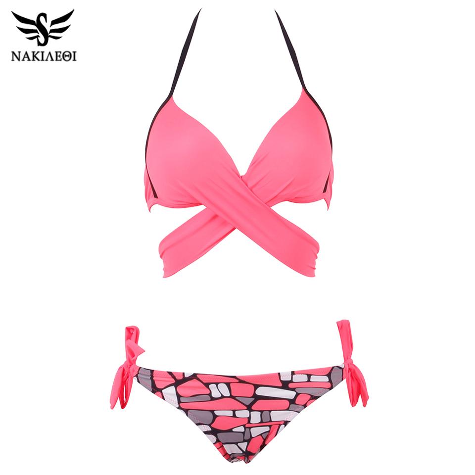 NAKIAEOI 19 Sexy Bikini Women Swimsuit Push Up Swimwear Criss Cross Bandage Halter Bikini Set Beach Bathing Suit Swim Wear XXL 28