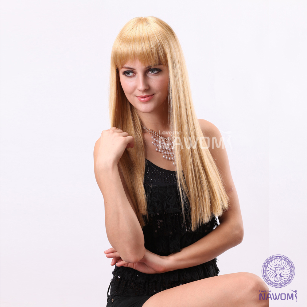 Ladies long blonde wig with bangs stright hair wig for women fashion hair style hot wig manufacturer<br><br>Aliexpress