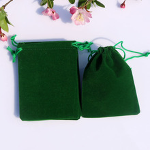 Wholesale 9x12cm Green Drawstring Velvet Bags Pouches Jewelry Christmas Valentines Gift Bags 50pcs/lot Free Shipping