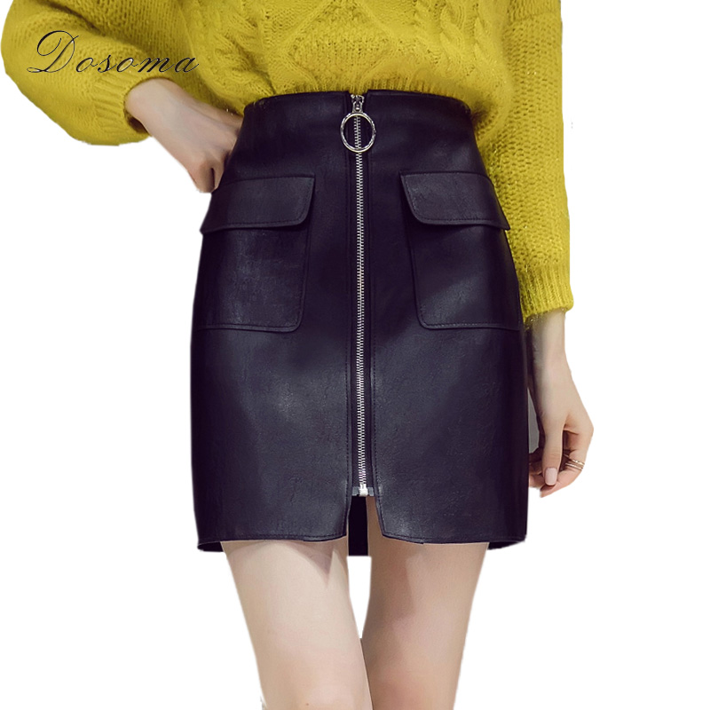 DOSOMA Sexy Black Zipper Pocket Skirt Women High waist PU Leather Pencil Mini Skirt Ladies Vintage Office Casual A-line Skirts