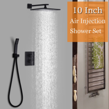 Buy 10 inch Wall Mounted Black Shower Faucets Set Thermostatic Water Saving Top Rain Shower Head Square Bathroom Modern Shower for $444.40 in AliExpress store